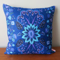 Vintage Retro - Blue Retro Floral Linen Cushion Cover