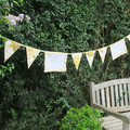 RETRO Vintage 'Lemon Yellow Floral' & Embroidered 'Lace' Napkin / Doily Bunting