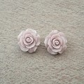 CLIP  ON MAUVE POLYMER CLAY EARRINGS, FLOWER ROSE EARRINGS, BRIDESMAID EARRINGS