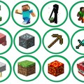 12x Minecraft Edible Wafer Circle Cupcake Toppers