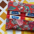 Handy Tea Bag Wallet-Decorative floral print on red
