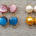 FOUR PAIRS OF WOMENS OR GIRL CLIP ON EARRINGS, PINK, BLUE YELLOW, CREAM CLIP ON