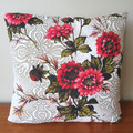 Vintage Retro  Flowers Barkcloth Cushion