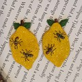 Handmade Earrings - Lemon and Ant Earrings