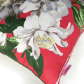 Vintage White flowers on Red Linen Cushion Cover