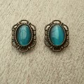 CLIP ON EARRINGS CATS EYE STONE BLUE GREEN,   BLUE GREEN CLIP ON EARRINGS, BRONZ