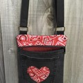 Black Upcycled Denim Cross Body Bag