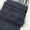 Handwoven Scarf, Pure Merino Wool, Hand Dyed Dark Navy / Ink Blue