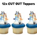 12x Bluey Hugs Edible Wafer Cupcake Toppers #759