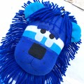 'Lennox' the Sock Lion - royal blue, turquoise & white stripes - *MADE TO ORDER*
