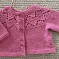Pink Cardigan - Size 3 monthsHandknitted - pure wool