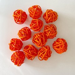 10 Orange Rattan Wicker Ornament Decorating Balls