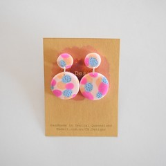 Pinky patch two piece polymer clay earrings