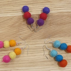 Handmade Earrings - Felt Pompom Strands