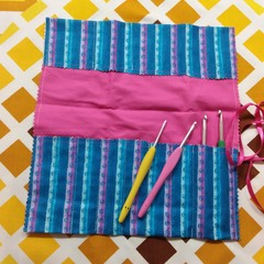 Crochet Hook Handy Wrap-Modern print in blues and lilacs