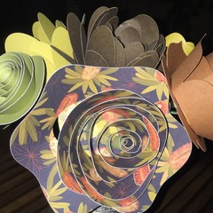 Bunch of large handcrafted paper flowers
