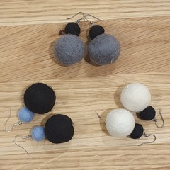 Handmade Earrings - Large Felt Pompoms