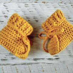 Mustard Newborn Crochet Baby Booties Shoes Socks Pregnancy Baby Reveal