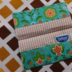 Handy Tea Bag Wallet- Modern print  in orange, green and teal