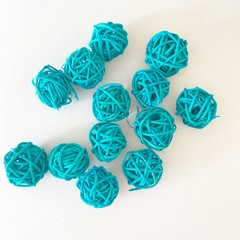 10 Blue Rattan Wicker Ornament Decorating Balls