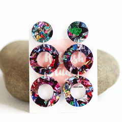 Kaleidoscope Mini Hoop Earrings ✩ Rainbow Foil Acrylic Earrings