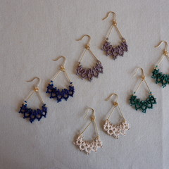 Tatting lace earrings (coloured)