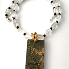 Natural Picasso JASPER Gemstone Pendant in Crystal Necklace.