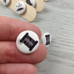 COTTON REEL - THREAD - Sewing Button - Stud Earrings