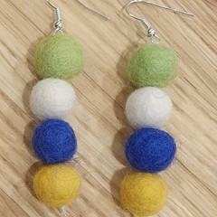 Handmade Earrings - Canberra Raiders Felt Pompom Strands