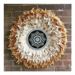 Brown & Cream Feathers Juju Hat Wall Hangings