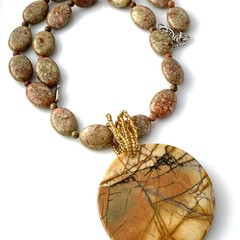 Natural PICASSO JASPER Pendant in SEA SEDIMENT JASPER Outback-Inspired Necklace.