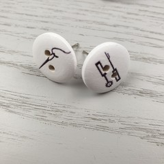 SEWING TOOLS - Needle Quick Unpick - Sewing Button - Stud Earrings