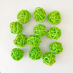 10 Green Rattan Wicker Ornament Decorating Balls