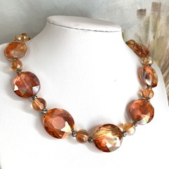 Fascinating Fiery Orange-Crimson  Crystal Stunning Necklace.