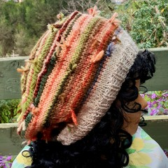 Beret beanie in knotted autumn tapestry wools