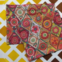 Handy Bags- Modern floral print in reds oranges greens