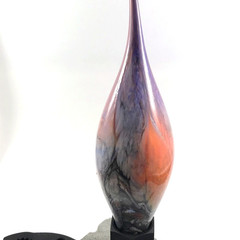 Small handblown glass sculpture  'Autumn Dawn' with upcycled metal and slate