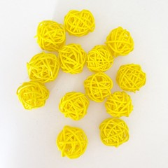 10 Yellow Rattan Wicker Ornament Decorating Balls