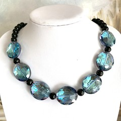 Fabulous Ocean Blue Crystal Stunning Necklace.