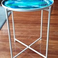 Unique resin topped side table