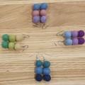 Handmade Earrings - Felt Pompom Strands