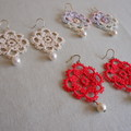 Tatting lace earrings (coloured)