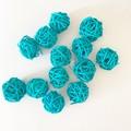 10 Blue Rattan Wicker Ornament Decorating Balls