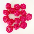 10 Pink Rattan Wicker Ornament Decorating Balls