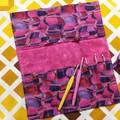 Crochet Hook Handy Wrap-Modern print in pinks purples