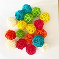 10 Yellow Rattan Wicker Ornament Decorating Balls