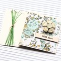 With Love card | Vintage Glitter Flower | Mini Card With Envelope