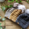 UNISEX BABY BEANIE/HAT with FAUX FUR POM - Girls/Boys/Baby/6months