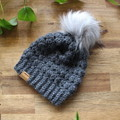 UNISEX TODDLER BEANIE/HAT with FAUX FUR POM - Girls/Boys/Toddler/1yearold/2 year