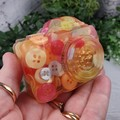 Camera Selfie Paperweight / Ornament - Solid Button Filled Resin - Citrius Mix